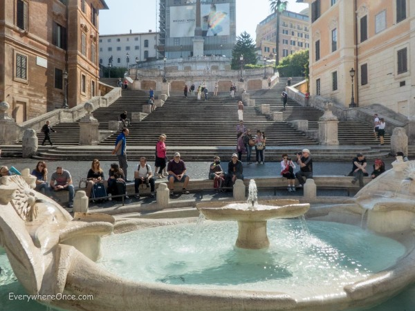 The Spanish Steps at 8:40 in the morning are quite a different experience than at 6:30 in the evening (above)